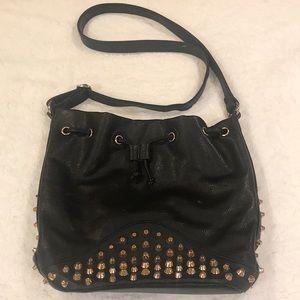 Black Rose Gold Studded Punk Crossbody Bag